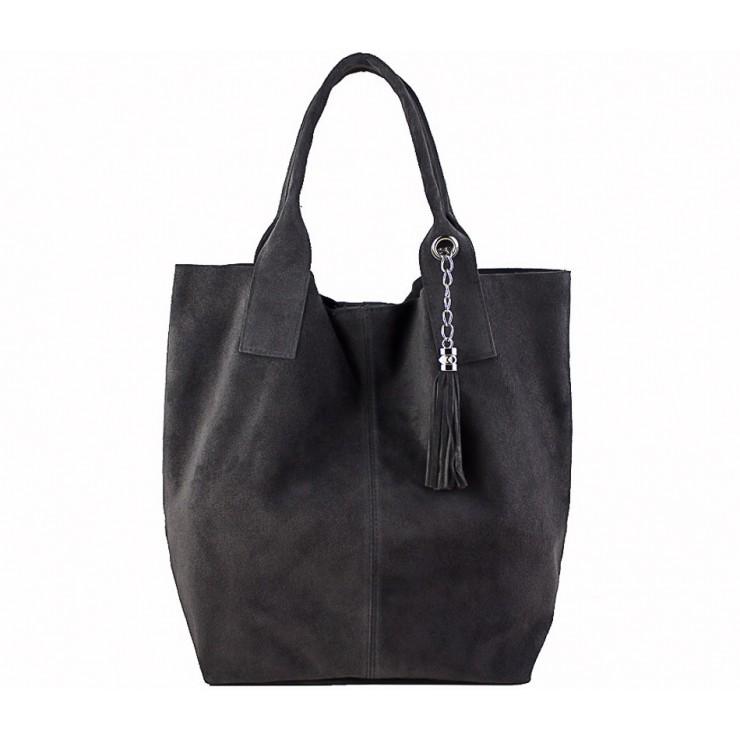 Genuine Leather Maxi Bag  804 dark gray