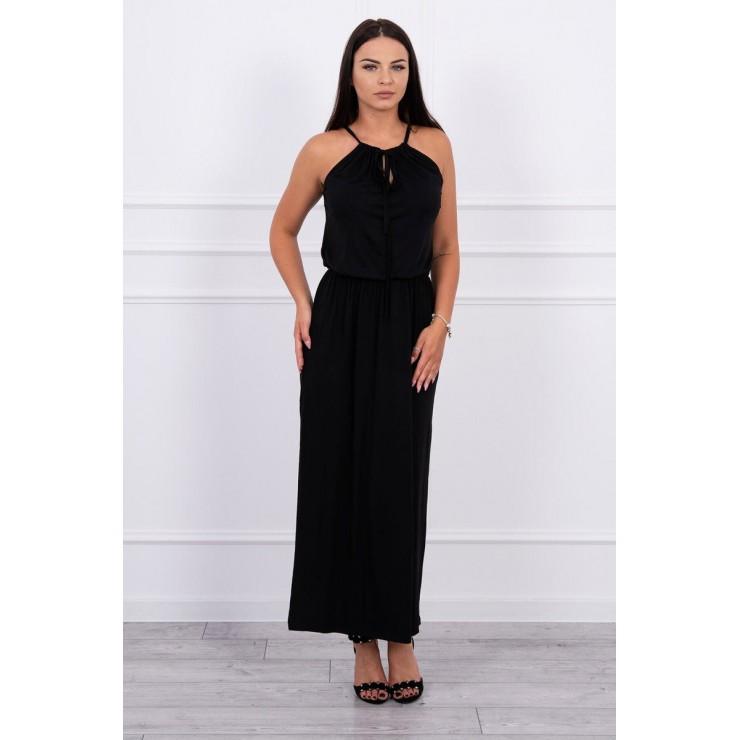 Dlouhé šaty s rozparkem MI8893 černé