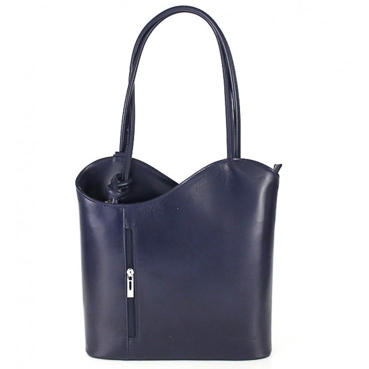 Kožená kabelka na rameno/batoh 113 tmavomodrá Made in Italy
