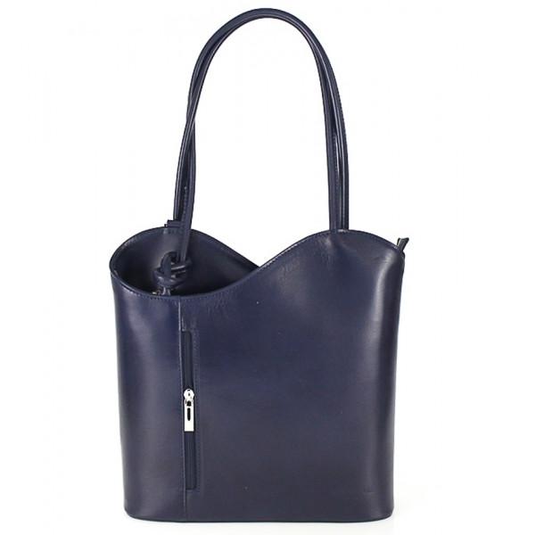 Kožená kabelka na rameno/batoh 113 tmavomodrá Made in Italy Modrá