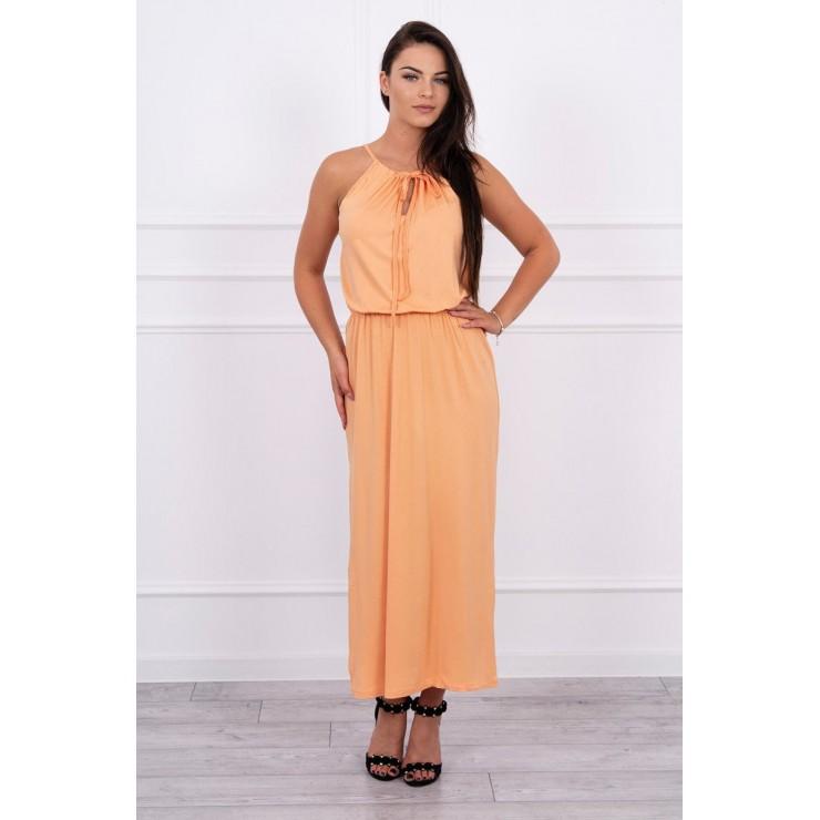 Long dress with slit MI8893 peach