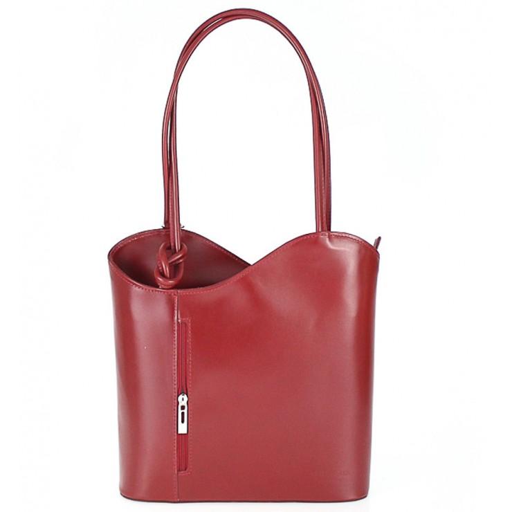 kožená kabelka na rameno/batoh 113 rudá Made in Italy