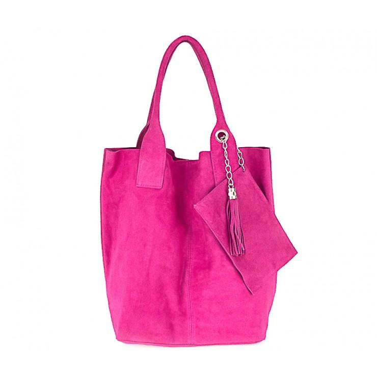 Genuine Leather Maxi Bag  804 fuxia