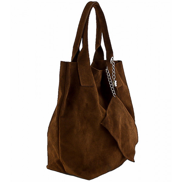 Fuchsia kožená kabelka v úprave semiš 804
