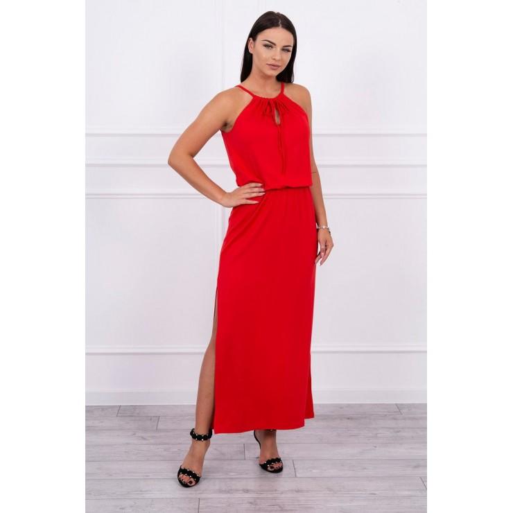 Dlouhé šaty s rozparkem MI8893 rudé