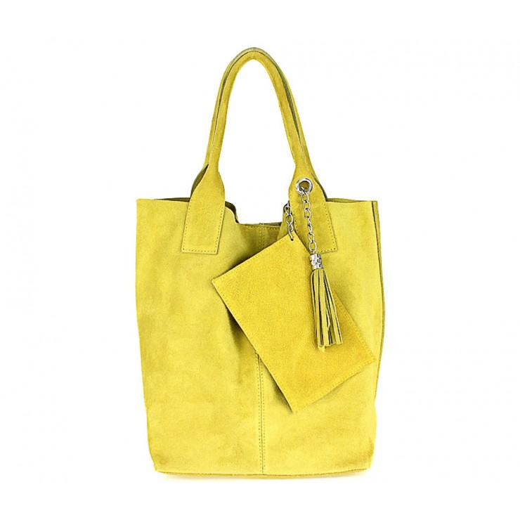Žlutá kožená kabelka v úpravě semiš 804