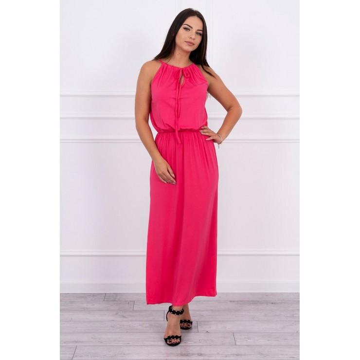 Long dress with slit MI8893 fuxia