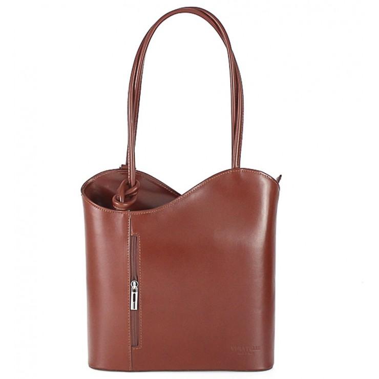 Kožená kabelka na rameno/batoh 113 hnedá Made in Italy