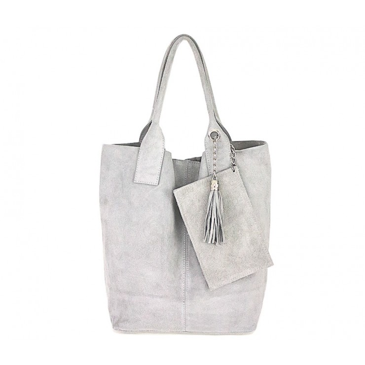Genuine Leather Maxi Bag  804 gray