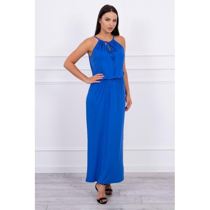 Dlouhé šaty s rozparkem MI8893 azurově modré