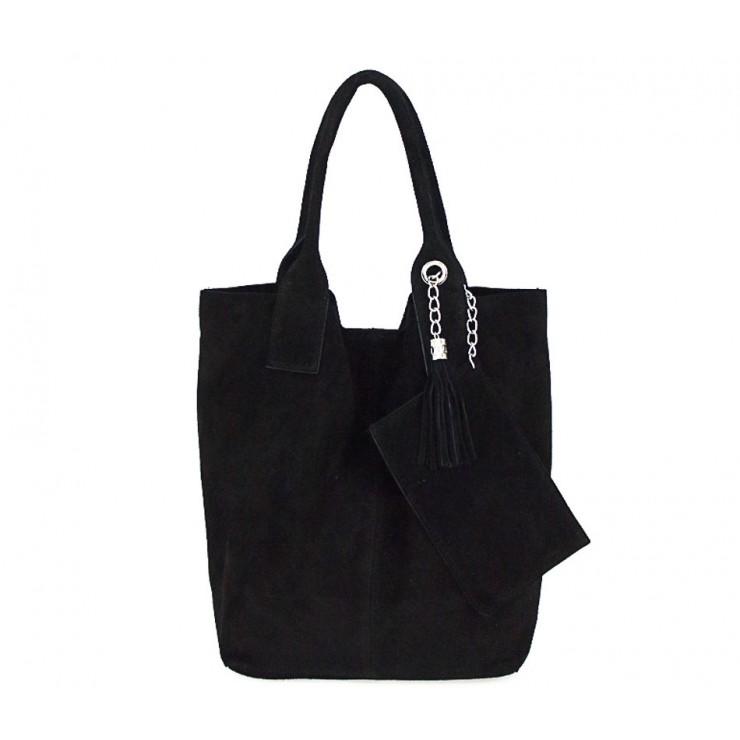 Čierna kožená kabelka v úprave semiš 804