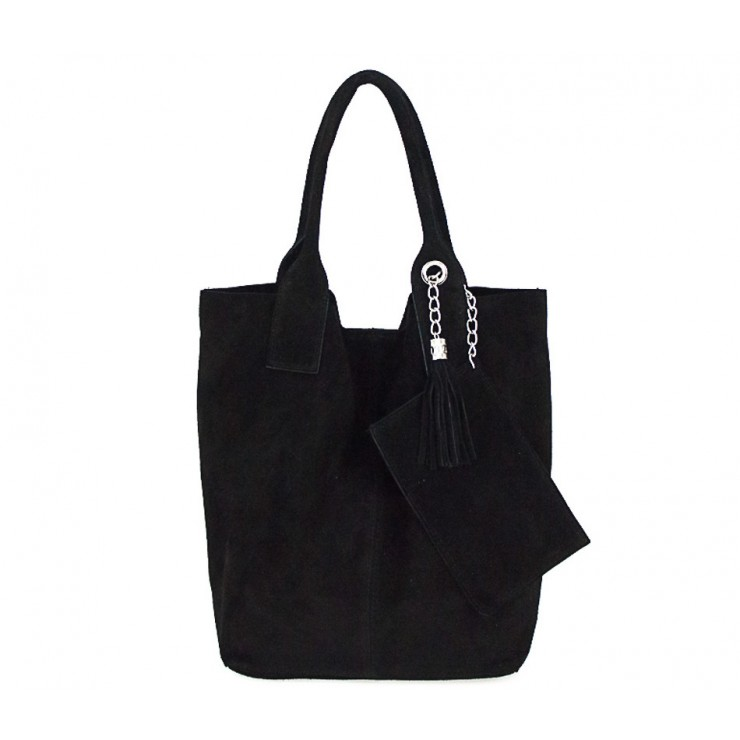 Genuine Leather Maxi Bag  804 black
