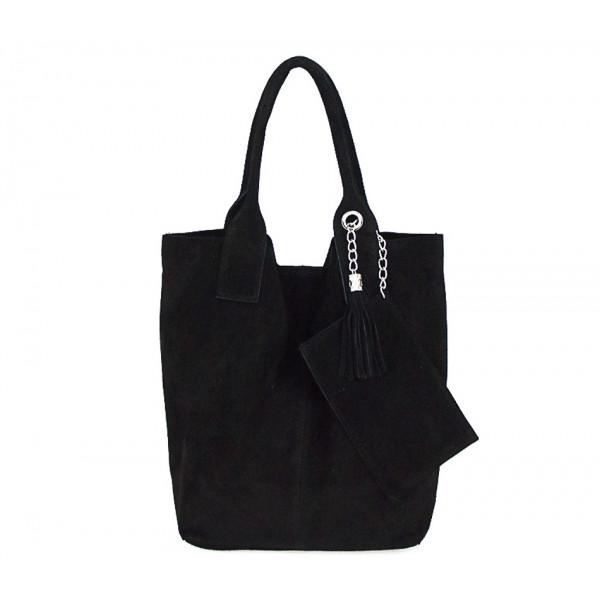 Čierna kožená kabelka v úprave semiš 804 Čierna
