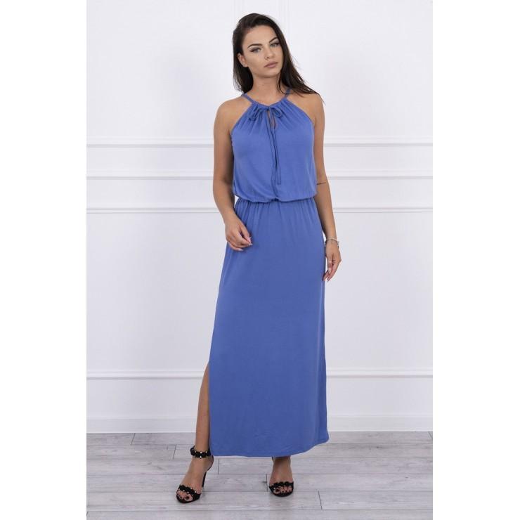 Dlouhé šaty s rozparkem MI8893 jeans