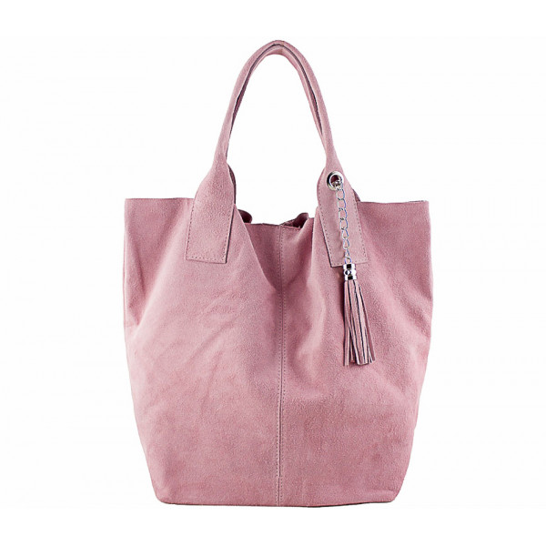 Ružová kožená kabelka v úprave semiš 804