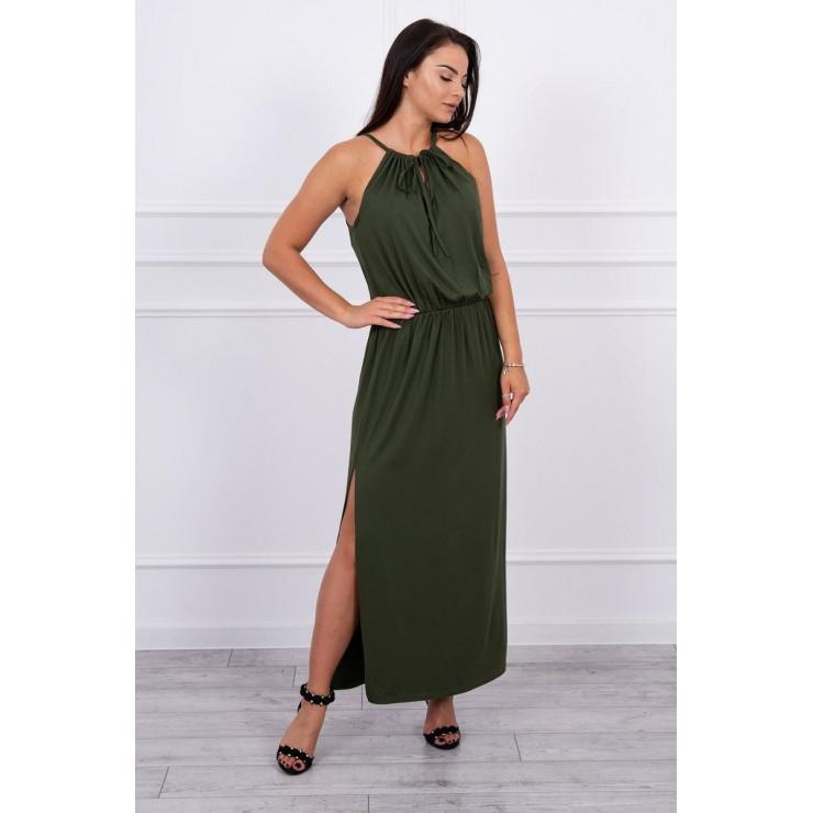 Dlouhé šaty s rozparkem MI8893 tmavě zelené