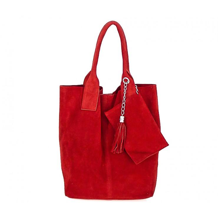 Červená kožená kabelka v úprave semiš 804