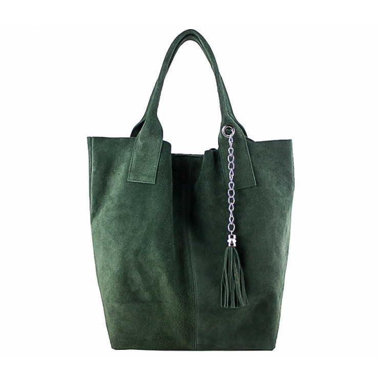 Genuine Leather Maxi Bag  804 dark green
