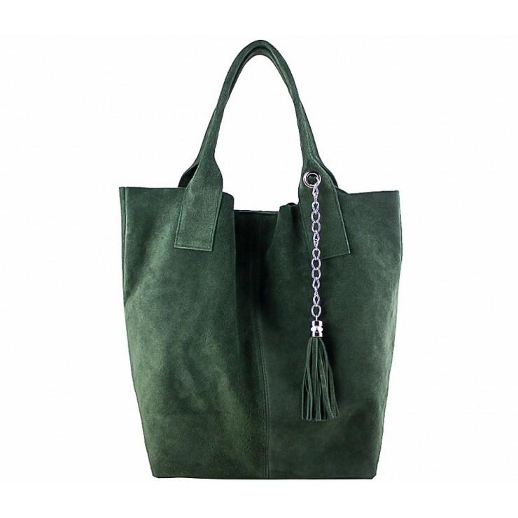 Tmavě zelená kožená kabelka v úpravě semiš 804