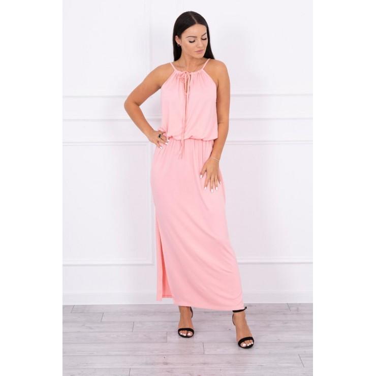 Dlouhé šaty s rozparkem MI8893 lososové