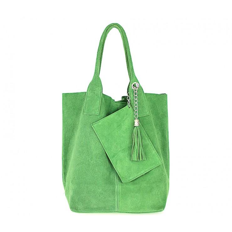 Zelená kožená kabelka v úprave semiš 804