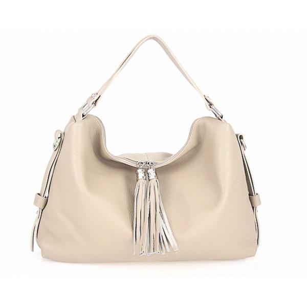 Genuine Leather Handbag 120 taupe