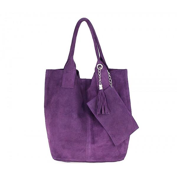 Fialová kožená kabelka v úprave semiš 804 Made in Italy Fialová