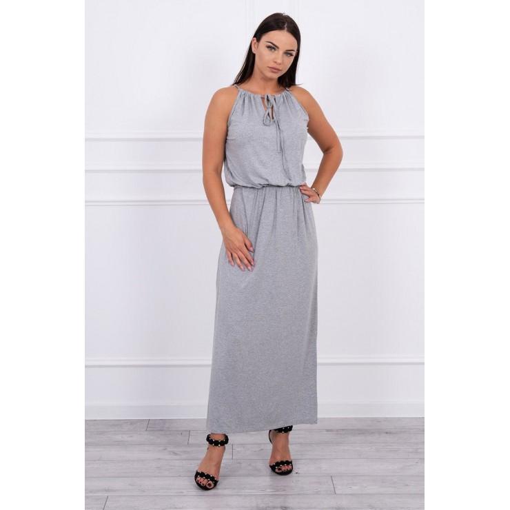 Dlouhé šaty s rozparkem MI8893 šedé