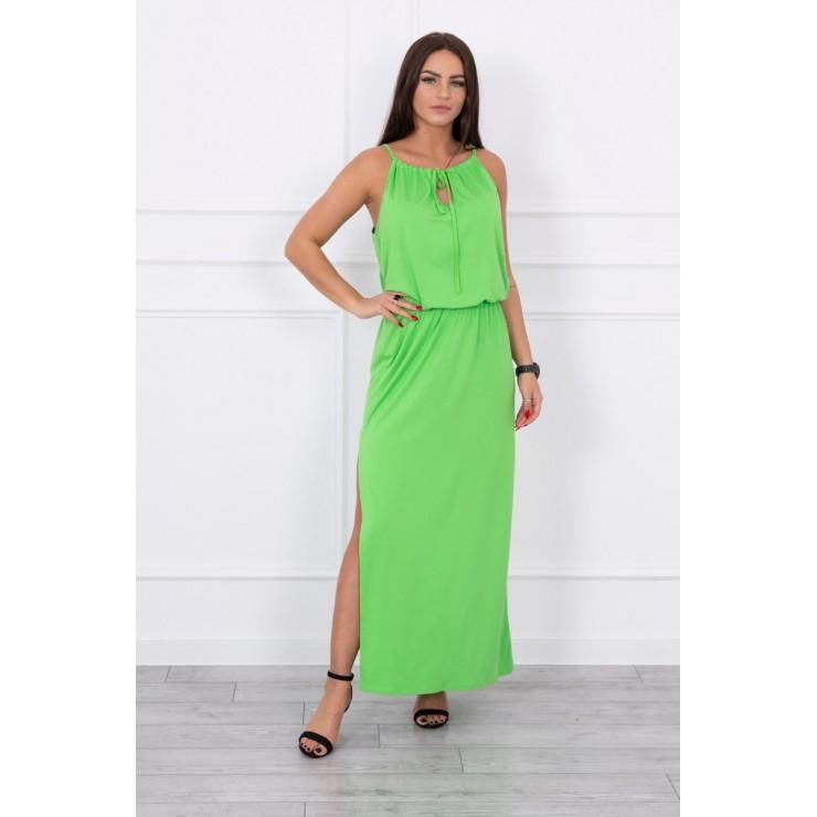 Dlouhé šaty s rozparkem MI8893 zelené