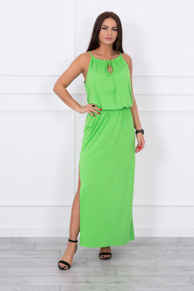 Langes Kleid mit Schlitz MI14 grün - MONDO ITALIA s.r.o.