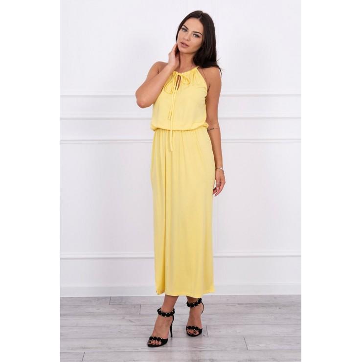 Dlouhé šaty s rozparkem MI8893 žluté