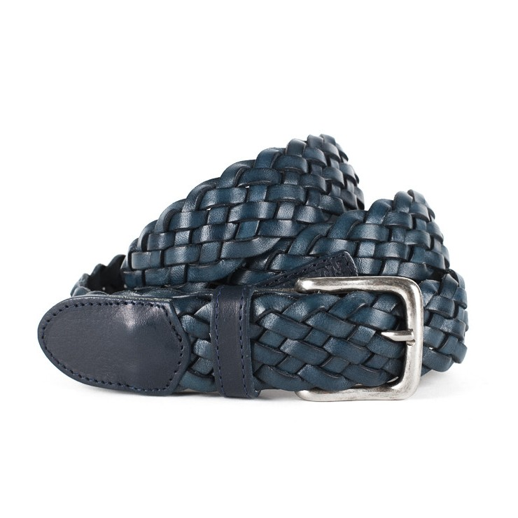 Women leather belt 1049 blue Franklin Marshall