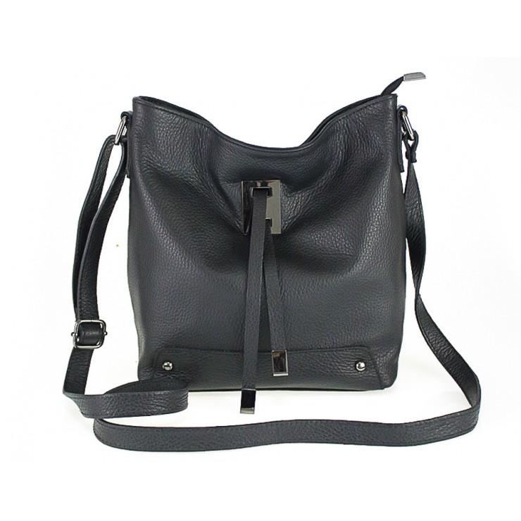 Kožená kabelka na rameno 825 čierna