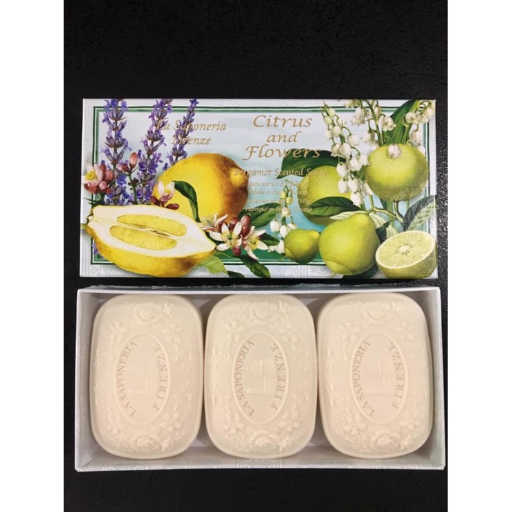 SA Fiorentino Talianske prírodné tuhé mydlo Citrusy a kvety 3 x 150 g