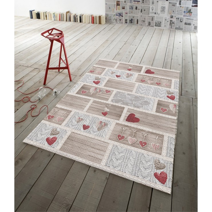 Digital Carpet Shabby in love red