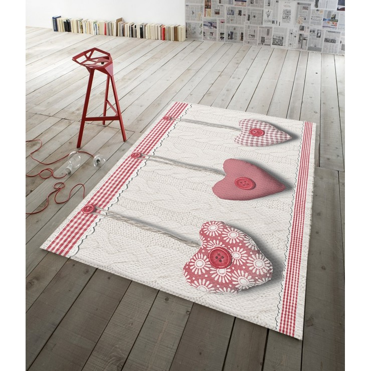 Digital Carpet Hanging hearts  red