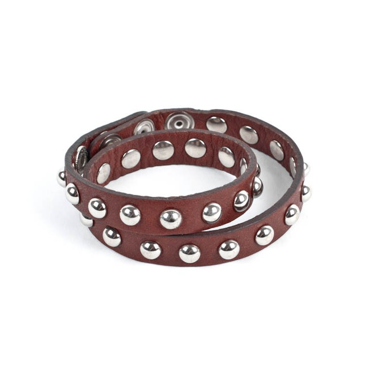 Leather bracelet 846 brown Made in Italy