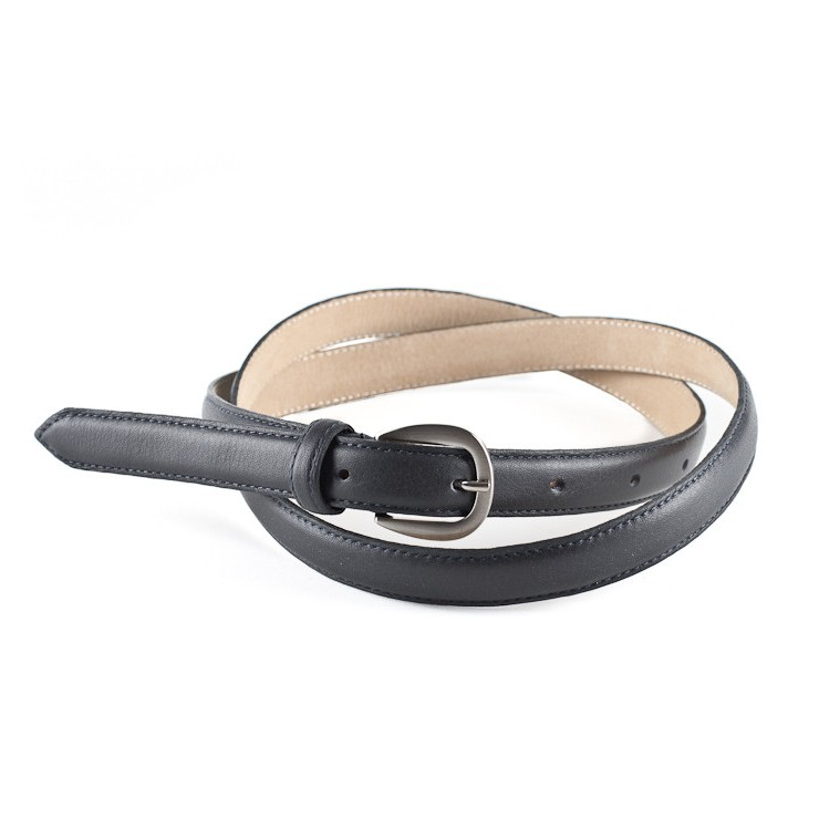 Women leather belt 945 dark blue Made in Italy