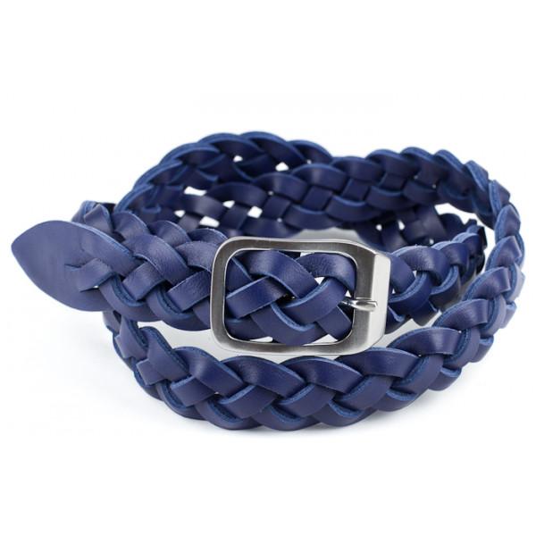 Dámsky kožený opasok 947 modrý Made in Italy Modrá 100/115 cm