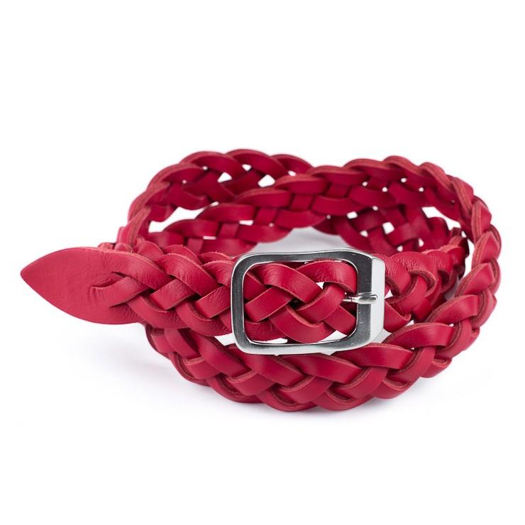 Dámsky kožený opasok 947 červený Made in Italy