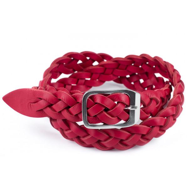 Dámsky kožený opasok 947 červený Made in Italy Červená 115/130 cm
