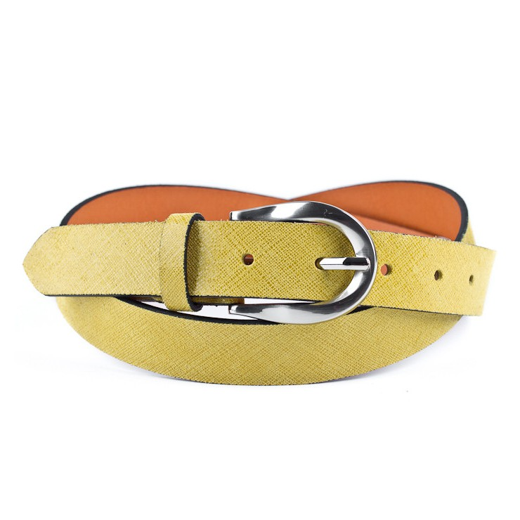 Women leather belt 951 yellow Made in Italy