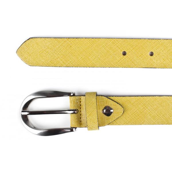 Dámsky kožený opasok 951 žltý Made in Italy Žltá 90/105 cm