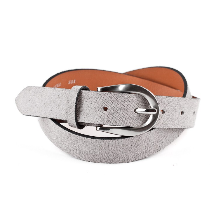 Women leather belt 951 grau Made in Italy