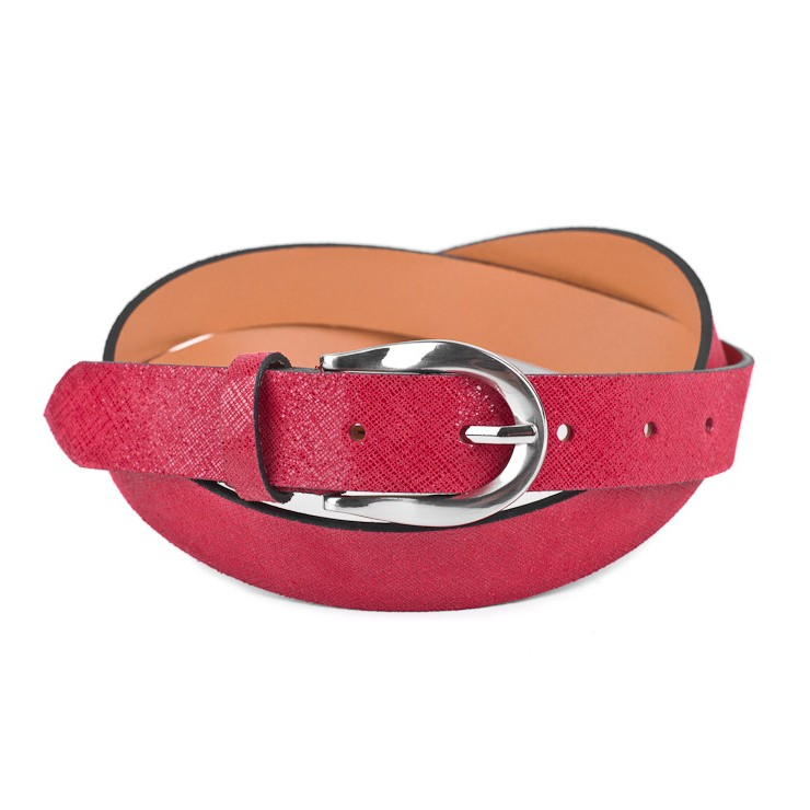 Women leather belt 951 red Made in Italy