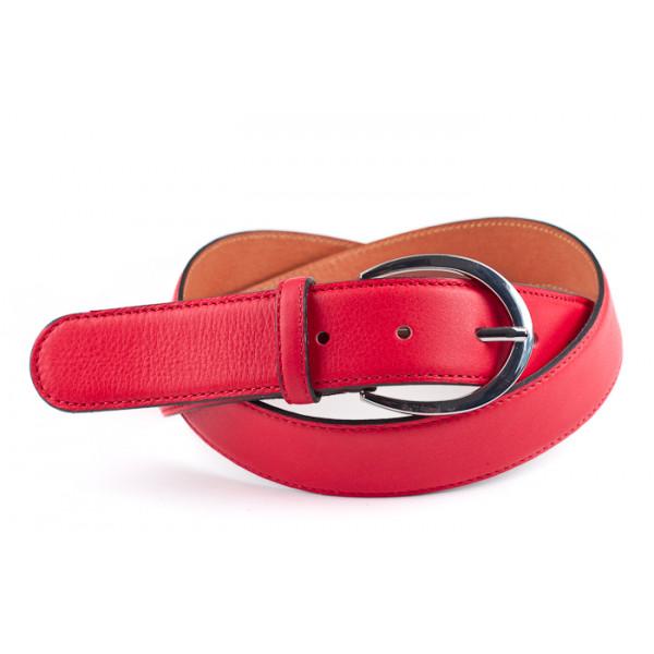 Dámsky kožený opasok 954 červený Made in Italy Červená 100/115 cm