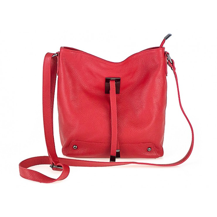 Genuine Leather Shoulder Bag 825 red