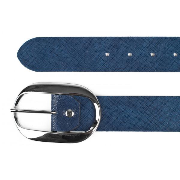 Dámsky kožený opasok 952 Made in Italy Modrá 115 cm