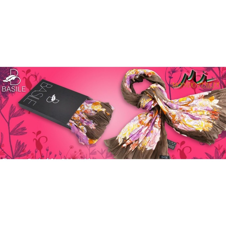 Women's foulard 909 brown with flowers Basile