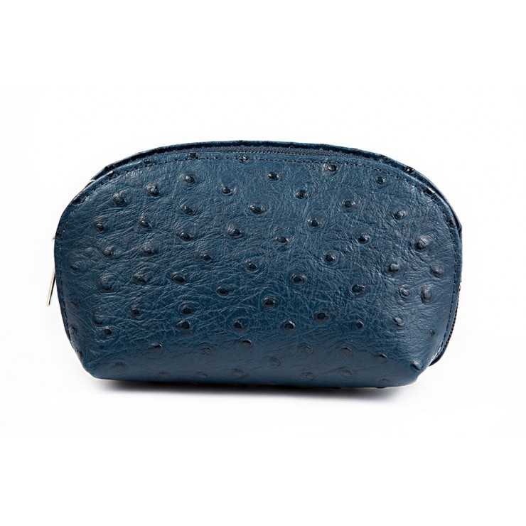 Leather Pouch 593B blue navy Made in Italy